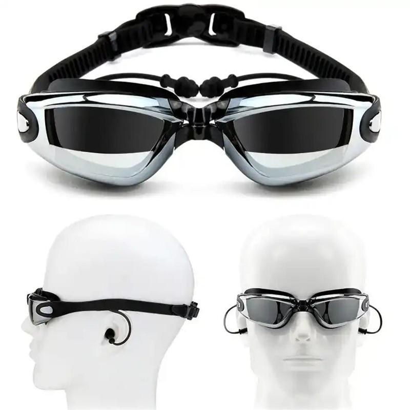 Очки для плавания при близорукости с заглушкой для ушей профессиональные силиконовые плавательные очки для взрослых очки для бассейна про...