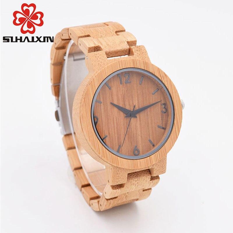 SIHAIXINNaturally Hypoallergenic Full Bamboo Wood Watches Men Luxury Unique Digital Dial Black Pointer Male Watch Boyfriend Gift tango кпб bamboo 3d digital 1331 33
