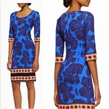 Do temperamento das mulheres da marca de moda italiana de manga azul elastic knitting slim dress