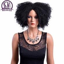 MSIWIGS Sentetik Kadın Kıvırcık Peruk Siyah Kadınlar için Afro amerikan Afro Kısa Siyah Peruk ısıya dayanıklı iplik