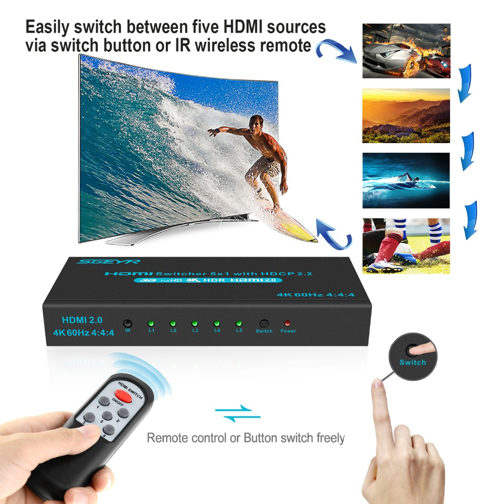 HDMI Switch SGEYR 5x1 5 Port HDMI 2.0 Switch Switcher 5 in 1 Out HDMI Switch 5 to 1 4Kx2K/60Hz HDCP2.2 with IR Remote