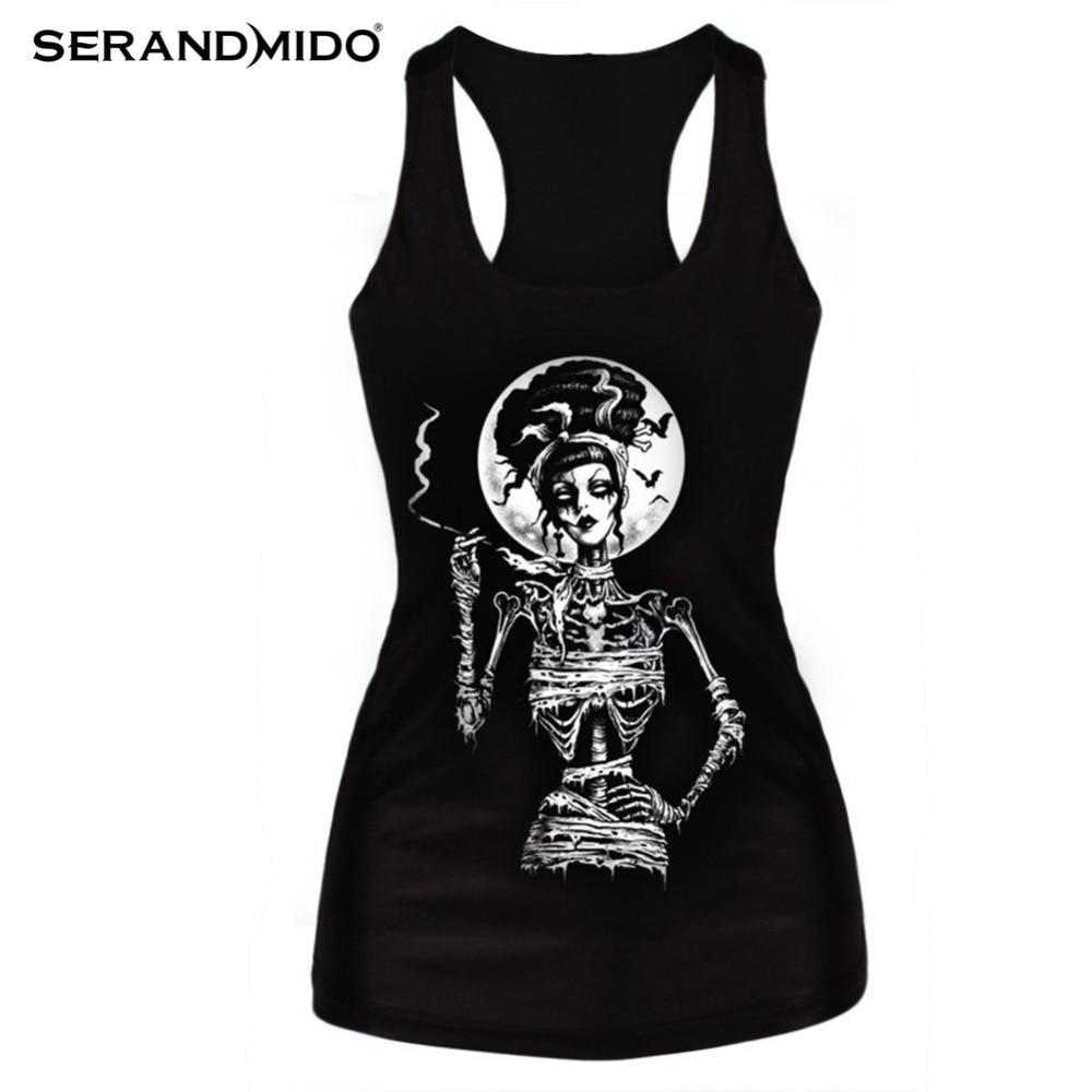 Clothing new 2015 women t-shirt black vest <font><b>tops</b></font> 3D print <font><b>ribs</b></font> skull bone <font><b>camisole</b></font> knitted polyester horror Sexy Tank <font><b>top</b></font> SMV018