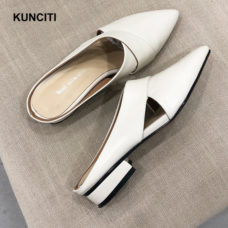 2019 KUNCITI Genuine Leather Summer Outdoor Casual Shoes Pointy Toe Cutout Women Slippers European Fashion Low