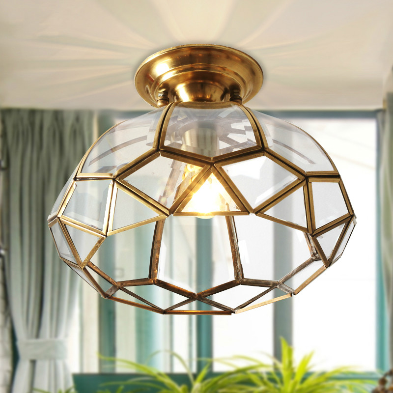 Modern fashion American copper nest ceiling light glass lampshade for kitchen aisle corridor entrance e27 lampholder fumat modern minimalist bedroom ceiling light corridor balcony glass lampshade light kitchen round metal ceiling lamps