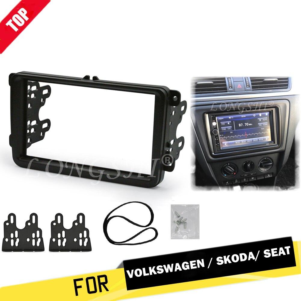 Painel Quadro Duplo Din Fascia rádio do carro DVD Traço Guarnição Interior para Volkswagen para VW Touran Caddy SEAT para Skoda fabia Octavia 2