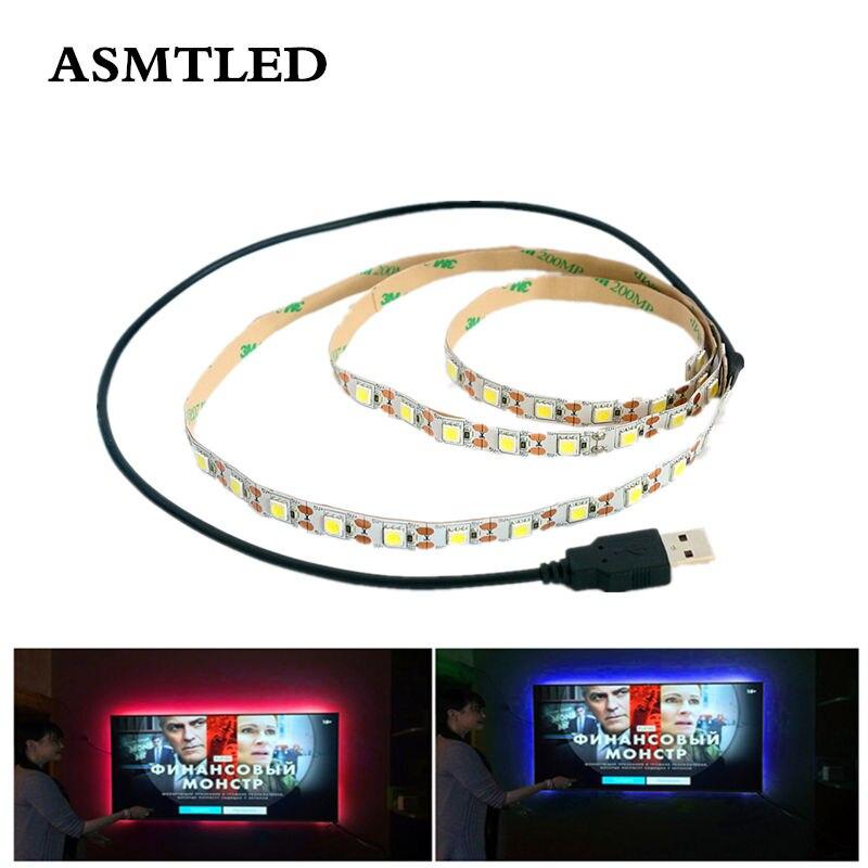 USB LED Strip light 5V SMD5050 60LEDs/m Single Color Fita LED Diode Tape Lamp 0.5m 1m 2m 3m 4m 5m LED Ribbon For TV PC Backlight(China)