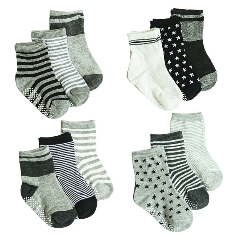 12 Pair/Set  Comfortable Socks Kids Non slip Cotton Socks Children Elastic Knit Striped Star Socks For Toddler Boys Girls 1 3Y 1|Socks| |  - title=