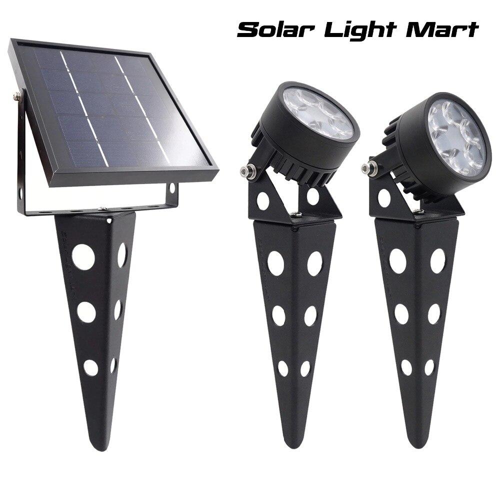 Mini 50X 3 0 Updated Twin Solar Powered LED Outdoor Landscape garden decoration Spotlight Waterproof 5m