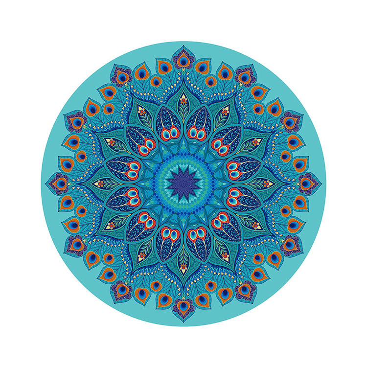 Suede yoga mat home pad round yoga meditation pad printing natural rubber yoga mat high quality