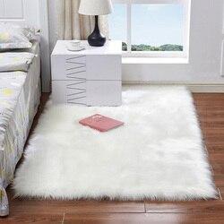 Luxo falso pele branca tapetes para o quarto de lã artificial macio peludo tapete apto sala estar cadeira almofada sofá área shaggy tapetes