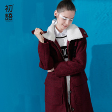 Toyouth New Arrival Women Casual Wool Blends Autumn Loose Patchwork Pockets Zippers Turn-down Collar Wollen Coat