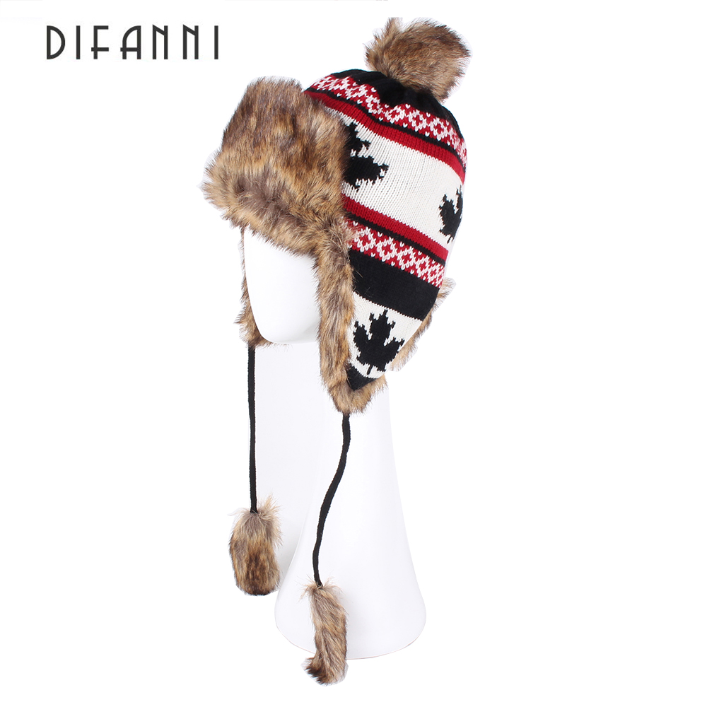Image Difanni Winter Women s Warm Bomber Hat Lady Knitted Maple Leaf Trapper Aviator Cap Fox Fur Earflaps Russian Ushanka