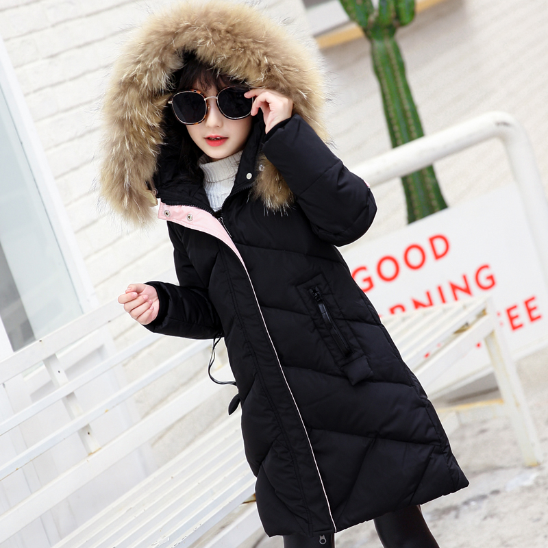 Girls Down Jackets 2017 Winter Thicken Natural Fur Collar Hooded Children Amry green Down Coats Outerwear Overcoat Parkas 5-14 a15 girls down jacket 2017 new cold winter thick fur hooded long parkas big girl down jakcet coat teens outerwear overcoat 12 14