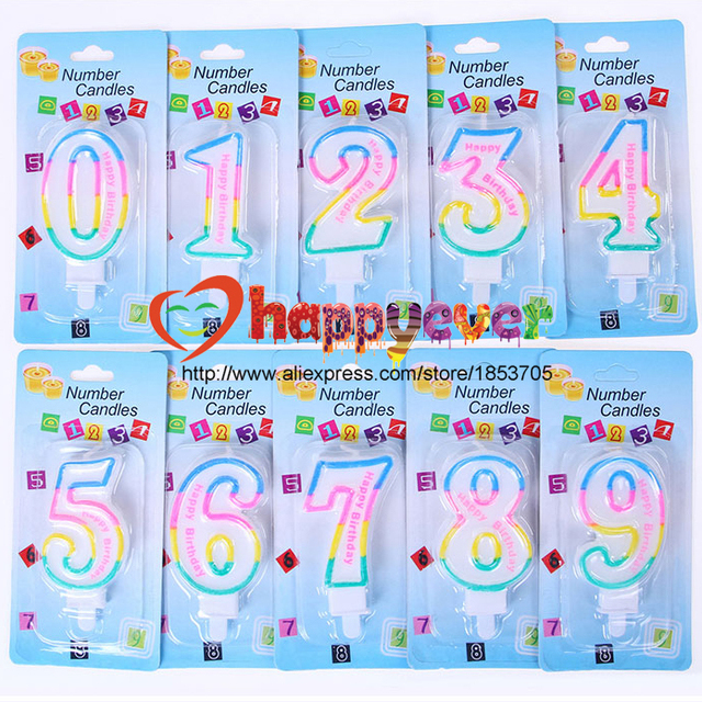 Kids Adult Colorful Birthday Candle Number 1 2 3 4 5 6 7 8 9 0