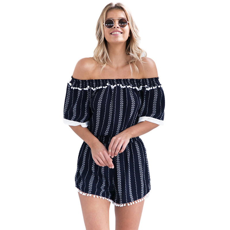 Fashion Womens Sexy Strapless Stripe Jumpsuit Ladies Casual Rompers Spring Summer Playsuit For Women #15