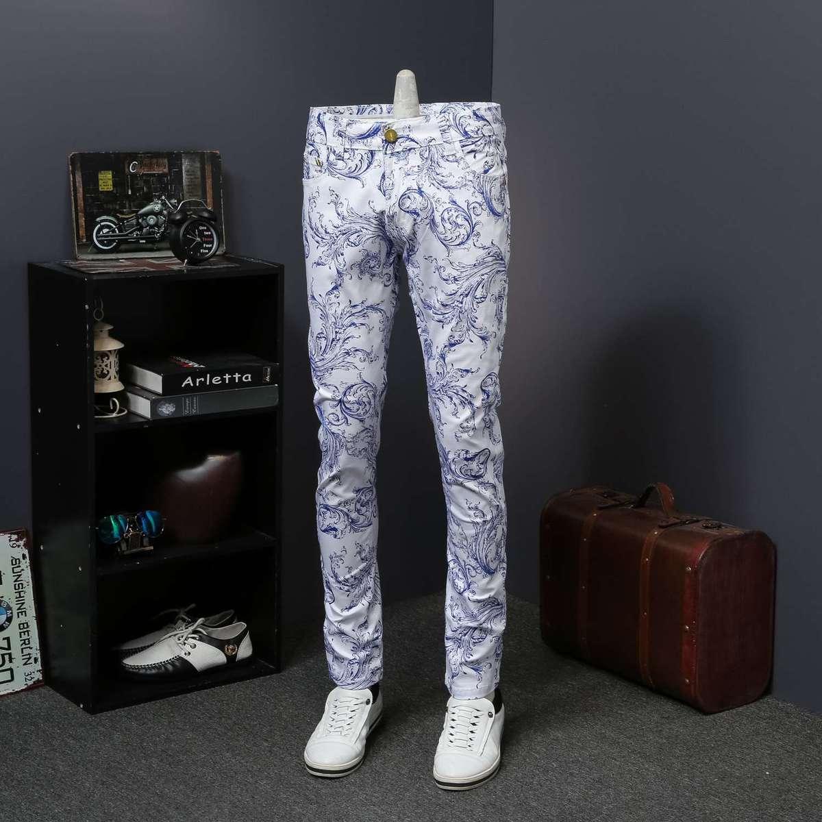 Floral Print Jeans Denim Mens Skinny Jeans Casual Vaqueros Hombre Skinny Erkek Jean Pantolon Calca Jeans Masculina