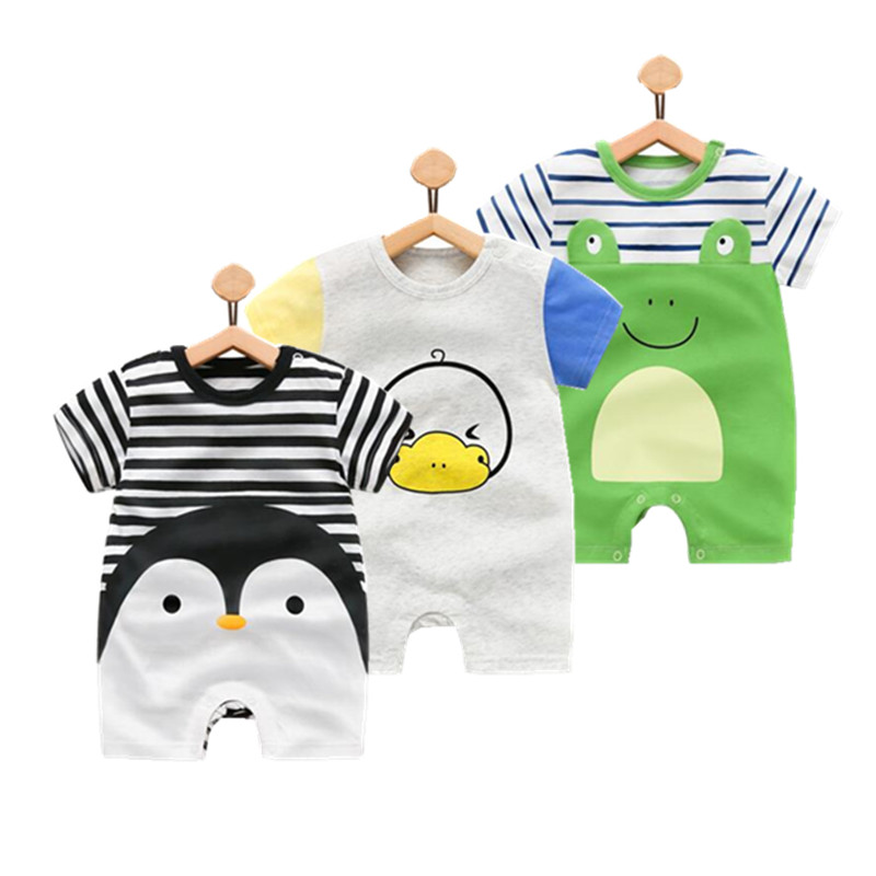 Baby rompers summer style Penguin baby boy clothes newborn girl short sleeve Baby clothes children's Clothes, baby girl clothing mother nest 3sets lot wholesale autumn toddle girl long sleeve baby clothing one piece boys baby pajamas infant clothes rompers