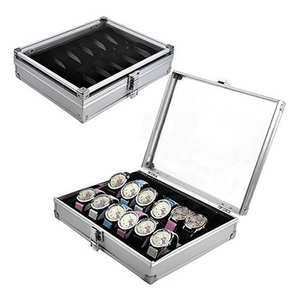 Organizer Watch-Box Storage-Holder Slots Display Case Jewelry Metal-Case High-Quality