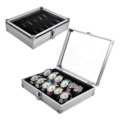 고품질 금속 케이스 6/12 격자 구멍 손목 시계 전시 상자 저장 홀더 조직자 시계 상자 보석 Dispay 시계 상자