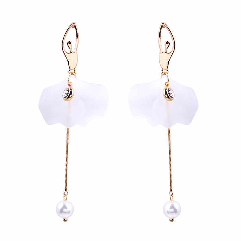 2019 Europe and the United States explosion models new ballerina modeling alloy inlay Rhinestone long pearl earrings wholesale