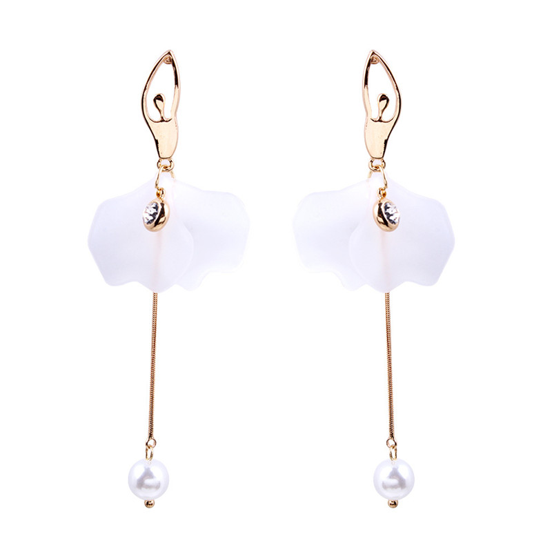 2019 Europe and the United States explosion models new ballerina modeling alloy inlay Rhinestone long pearl earrings wholesale image