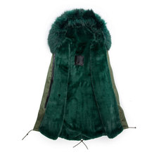 Wholesale fashion faux fur jacket emerald green color with fur collar