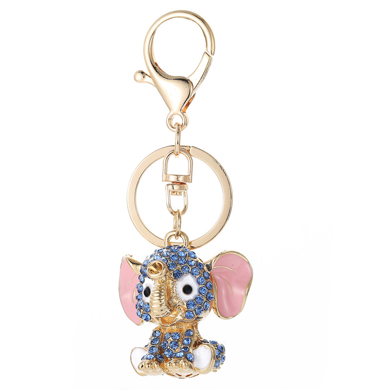 Blue Elephant Keychains Crystal Key Ring Key Chains for Christmas Gift Jewelry Llaveros Pendant G45