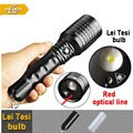 New T6 CREE LED Torch With Laser Pointer Red Laser 200mw 7w LED Flashlight CREE Outdoor Camping Equipment Zoomable Flash Light
