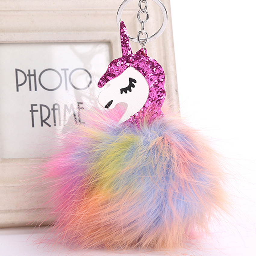 Hot Sell Unicorn Pompom Key Chain Colour Faux Fur Pendant Keychain Rhinestones unicorn Car Key Ring Horse Bag Charm Accessories