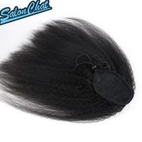 Kinky Straight Malaysia Human Hair Drawstring Ponytail Clip In Hair Extensions Natural Color Remy 2 Clips Afro Ponytail Bybrana