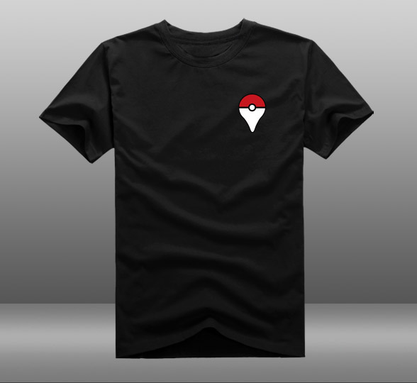 Mens Casual 2016 Game Pokemon Go Poke Ball Badge Logo Short Sleeve Cotton Printing O-Neck T-shirt Shirts