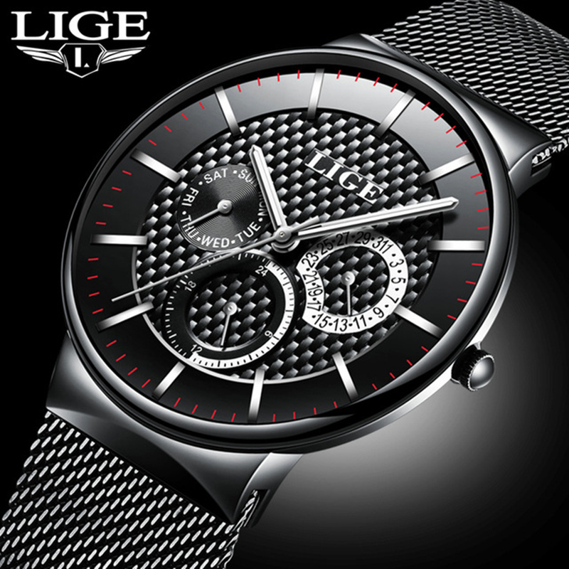 LIGE Brand Men 39 s Watches Men Dress Quartz Watch Men Steel Strap watch Male Ultra thin Ultra Clock Relogio Masculino Reloj Hombre in Quartz Watches from Watches