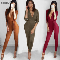 Suede Bodycon Bandage Jumpsuit Women 2016 Deep V Neck Autumn Winter Rompers Overalls Sexy Bodysuit Slim