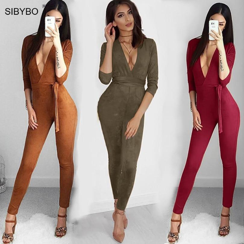 Suede Bodycon Bandage Jumpsuit Women 2016 Deep V Neck Autumn Winter Rompers Overalls Sexy Bodysuit Slim