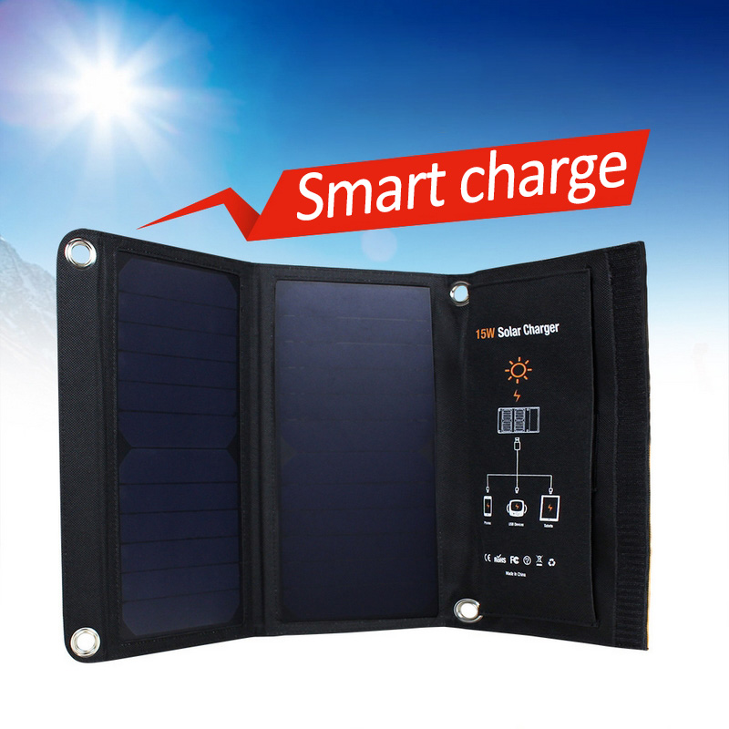 Portable 15W 5V Solar Panel Folding Dual USB Port Waterproof No Need Battery Smart Solar Charger Sun power Charging portable folding 5v 15w double usb port solar charger mobile phone power mp3 mp4 gps camera game solar panels outdoor charging