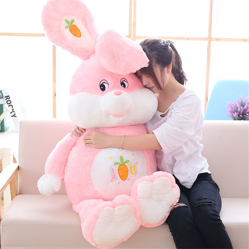 Fancytrader Huge Soft Cartoon Rabbit Plush Doll Stuffed Giant Anime Pink Bunny Toy Animal Pillow Baby Gift 3 Sizes fancytrader seal plush baby doll large stuffed cartoon animal arctic seal toy white bear kids gift pillow 39inches 100cm