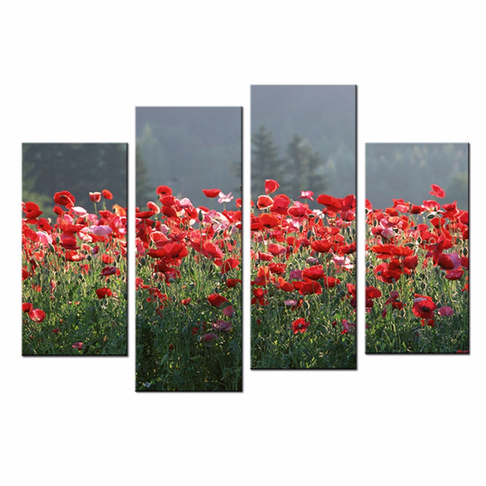Red Poppies Modern Canvas Wall Art Pictures for Hotels Flowers Painting High Definition Canvas Prints Landscape Artwork Unframed