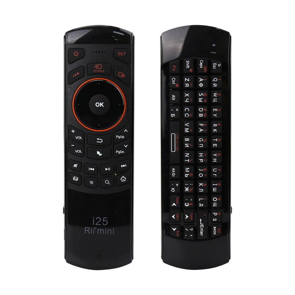 Rii i25 2.4G Mini Sans Fil Russe Clavier Air Fly Souris Anglais Télécommande Pour PS3 HTPC Android Smart TV Box Arabe IPTV