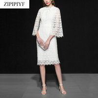 2018 runway women fashion cutout lace Empire knee length pencil dress slim elegant pary white midi cloak 2pcs dress D202
