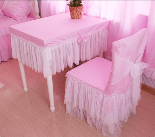 H35 France Tablecloth Sets Princess Pink White Layer Flower Lace Kids Seat Back Chair Table Covers