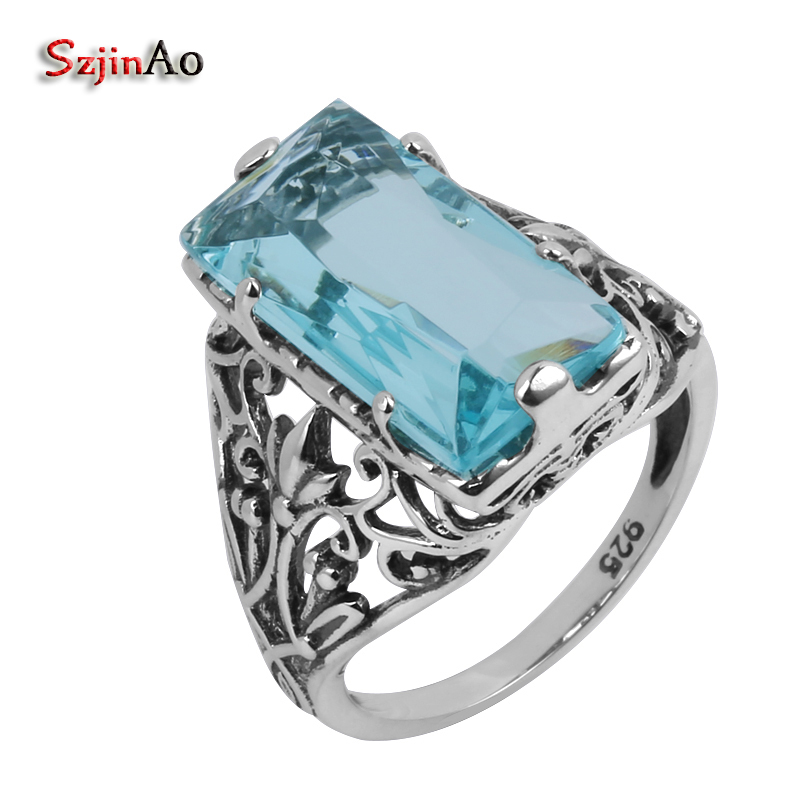 Szjinao 925 Sterling Silver Jewelry Wholesale Antique Jewelry Blue Stone Crystal Women 100% Pure Silver Ring bague homme