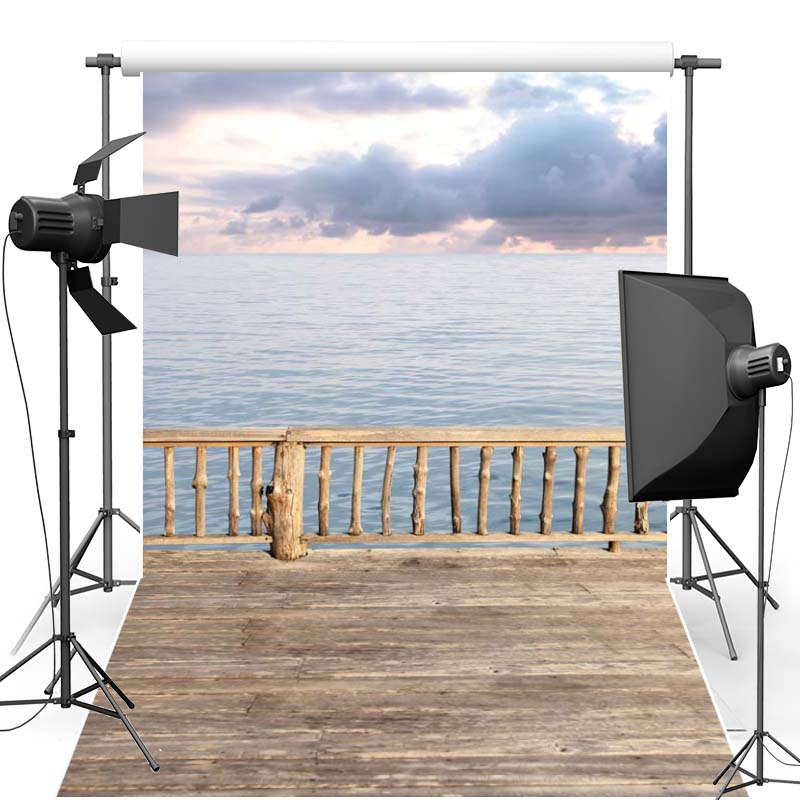Vinyl Photography Background Sunset New Fabric Polyester Photo backdrop Wood Floor Sea Wave For Wedding studio Props F2621
