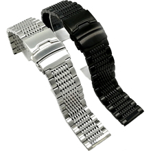 BEAFIRY 18mm 20mm 22mm 24mm Stainless Steel Black Silver buckle Watchband high Quality Wristwatches Strap Classic Rose Gold Blue