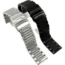 BEAFIRY 18mm 20mm 22mm 24mm paslanmaz çelik siyah gümüş toka Watchband yüksek kaliteli kol saatleri kayış klasik gül altın mavi