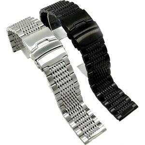 Image 1 - BEAFIRY 18mm 20mm 22mm 24mm נירוסטה שחור כסף אבזם רצועת השעון באיכות גבוהה שעוני יד רצועת קלאסי עלה זהב כחול
