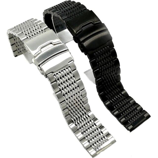BEAFIRY 18mm 20mm 22mm 24mm נירוסטה שחור כסף אבזם רצועת השעון באיכות גבוהה שעוני יד רצועת קלאסי עלה זהב כחול