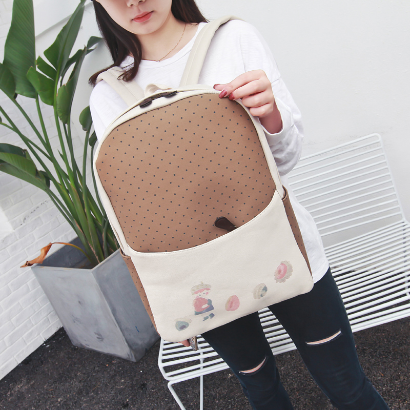 Canvas Nuts Prince Print Student Backpack Simple All Match Fashion New Collection Big Space Traveling Bag