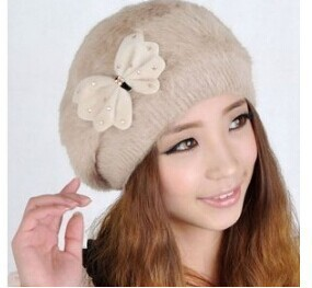 #0704 2017 Women's hat Boina feminina winter Vogue knitted hat Winter rabbit fur beret hat cap beanies winter hat for women