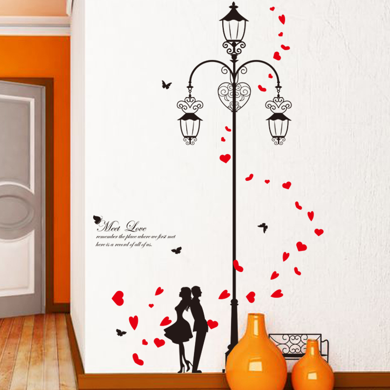 Perfect Meet Love Romantic Lamp Lovers DIY Wall Sticker For Living Room Hallway Wall  Decor Art Wedding Bedroom Mural Decals Home Decor