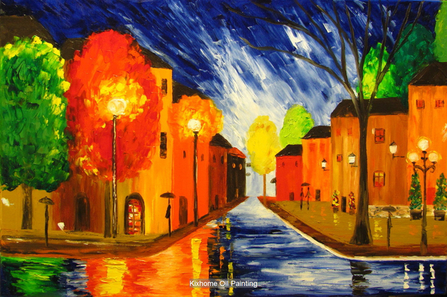Paris night stree by Thick palette knife texture oil paintings on